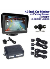 "4.3"" LCD Color Car Monitor Rearview + Backup Camera Night Vision Reversing + 4* Parking Sensors 1 *Beeper"