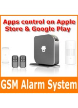 GSM SMS Burlar Alarm System 850/900/1800/1900MHz Universal Support 50 Wireless Sensors Apps Control on Apple Store & Google Play