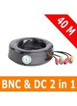 40M/131Ft 2in1 CCTV Video BNC and Power Cable for Security Device