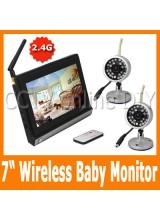 "Home Security CCTV 2.4G Wireless Baby Monitor System 2pcs IR Day and Night Camera 4CH 7"" inch TFT Color LCD"