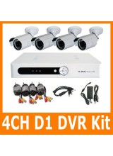 4CH Full D1 H.264 Home Video Security CCTV Surveillance DVR Record System Kit 4 x CMOS IR Day&Night Weatherproof Camera