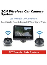 "7"" TFT Color LCD Monitor Wireless Car Rearview System with 2pcs Infrared Weatherproof Cameras 2CH Display"