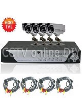 4CH H.264 FUll D1 1080P HDMI Network Standalone CCTV DVR 4pcs 600TVL 6mm Lens 24IR Leds Outdoor CCD Camera Video System