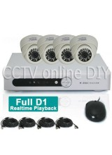 Home 4CH H.264 Full D1 Network DVR 1/4 CMOS 420TVL 3.6mm Dome IR CCTV Camera Security Video System Kit