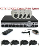 "Home 4CH H.264 Standalone DVR 1/3"" CCD 420TVL 3.6mm Dome IR CCTV Security Video Camera System"