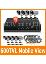 8CH H.264 Network Security CCTV DVR System Support Mobile Surveillance 600TVL Night Vision Outdoor CCD Camera