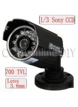 "CCTV 700TVL High Resolution Night Vision Camera 1/3"" SONY Super HAD CCD II 3.6mm Lens 21 IR Leds OSD Menu waterproof"