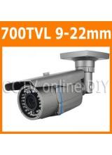 "Security CCTV 700TVL 1/3"" SONY E-Effio CCD 9-22mm Varifocal Zoom Lens Weatherproof 42 IR Leds Day&Night Camera with OSD Menu"