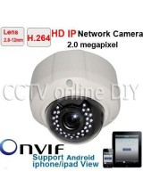 Home Security HD H.264 2.8-12mm Lens 2.0 Mega pixel CCTV 30IR Leds Night Vision Dome IP Camera Mobile Phone View