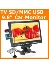 9.8 inch TFT LCD Analog TV Color Car Monitor Support SD/MMC Card USB Player Build in Speaker