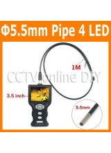 5.5mm Diameter Video Snake Borescope Endoscope Pipe Sewer Walls Vehicles Inspection Camera System 3.5 inch LCD Monitor
