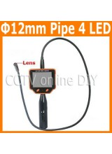 12mm Diameter Video Snake Endoscope Borescope Pipe Sewer Walls Vehicles Inspection Camera System 3.5 inch LCD Monitor