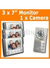 3 Units Apartment Video Door Phone doorbell Intercom System 3pcs 7 inch Monitors 1 Outdoor IR Camera