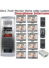 10 Units Apartment Video Door Phone doorbell Intercom System 10pcs 7 inch Monitor with 10PCS RF Card
