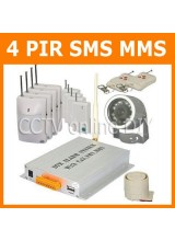 GSM Wireless SMS MMS Home Security Burglar Alarm System Auto Dialer Talk with Infrared Camera 4pcs PIR