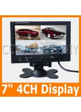 "7"" Color TFT LCD Rear View Car Monitor 4CH Video Input Four Division Display Quad Mode Monitors"