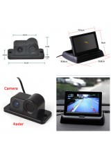 "Car Reverse Parking Camera With Radar Sensor + 4.3"" Foldable LCD Rear View Monitor 3 in 1"