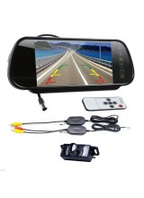 "7"" LCD Mirror Monitor +Wireless Car Reverse Rear View Backup Camera Night Vision"