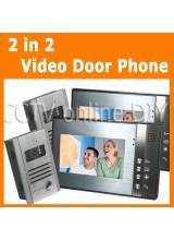 """Home Video Door Phone Intercom 7"""" LCD Full Color Doorbell Intercom Kit 2 Camera 2 Monitor Unclock Function"""
