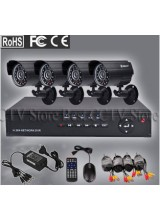 Home 4CH CCTV Security System 4pcs Day and Night Weatherproof Video Camera Surveillance DVR Mobile Phone Access