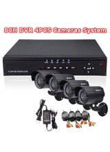 Home Surveillance Video System 8CH CCTV DVR 4pcs Day and Night Weatherproof Security Camera Mobile Phone Access
