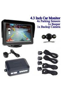 "4.3"" LCD Color Car Monitor Rearview + Backup Camera Night Vision Reversing + 4* Parking Sensors 1 *Beeper"