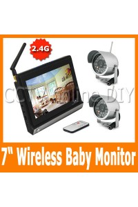 "2.4G Wireless Home Security Baby Monitor System 2pcs IR Day and Night Camera 4CH 7"" inch TFT Color LCD"