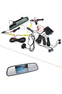 3 in 1 4.3 inch Car Mirror Monitor + HD CCD rear view Camera + Dual Core car Parking sensor Radar Sensor System