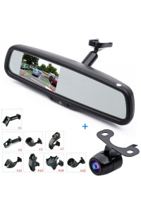 "Car Rear View Kit 4.3"" LCD Mirror Monitor + Reverse Backup Parking Camera, Interior Replacement Rearview Mirror with OEM Bracket"