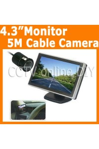 4.3 inch TFT LCD Monitor 5M Cable Wired Car Rear View Camera Parking System