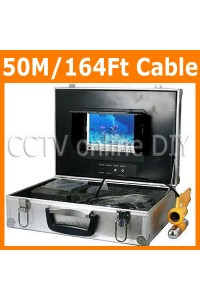 50M/164Ft Underwater Fishing and Boat Inspection Video Camera System Sharp CCD 9 Light LED Camera 7 inch Color Monitor